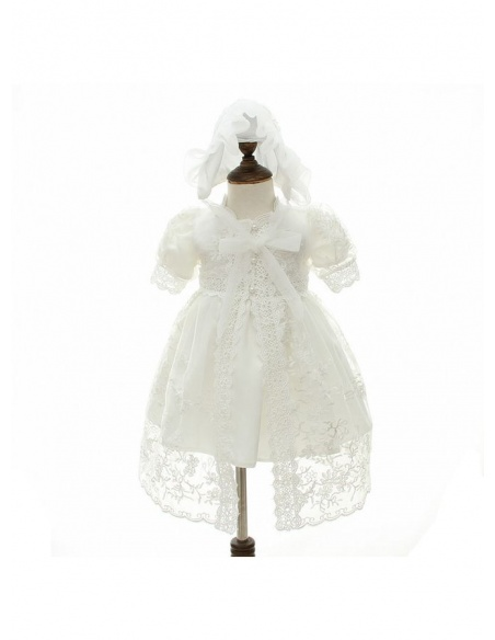 Christening Gowns A-line Satin Lace Low round/Scooped neck Wedding party dress