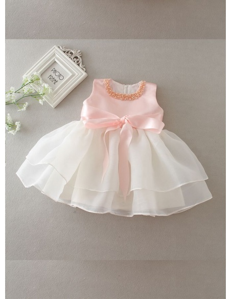 Christening Gowns A-line Organza Low round/Scooped neck Wedding party dress