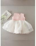 Vestito da Battesimo semplice con corpetto rosa e collo con perline