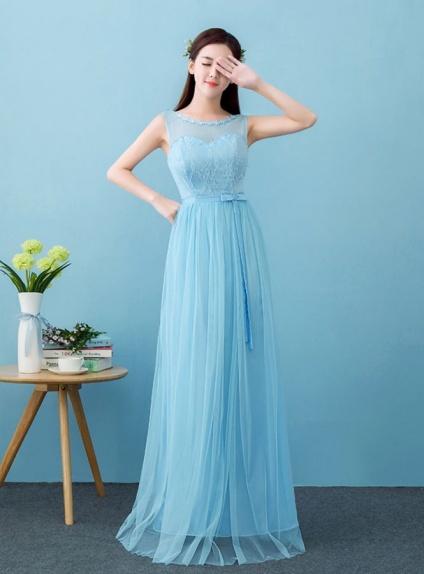 designer fashion 7ae49 d4ddc Abito da Cerimonia di pizzo azzurro semplice e lungo