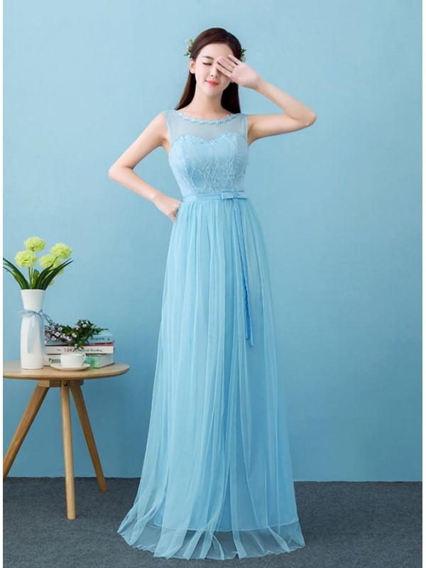 designer fashion 7093b f14a1 Abito da Cerimonia di pizzo azzurro semplice e lungo