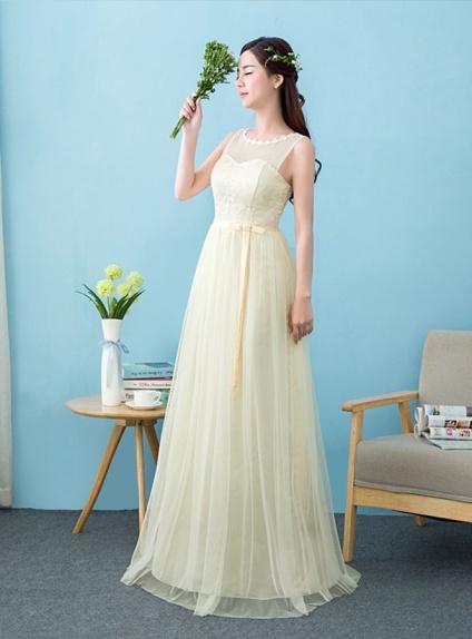 promo code 3c538 a0d45 Vestito da Cerimonia giallo pastello di pizzo chantilly