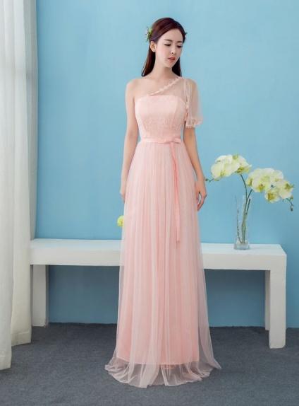 Abito da cerimonia rosa monospalla con manica in tulle jpg 560x680 Abito  cerimonia rosa ec485602197