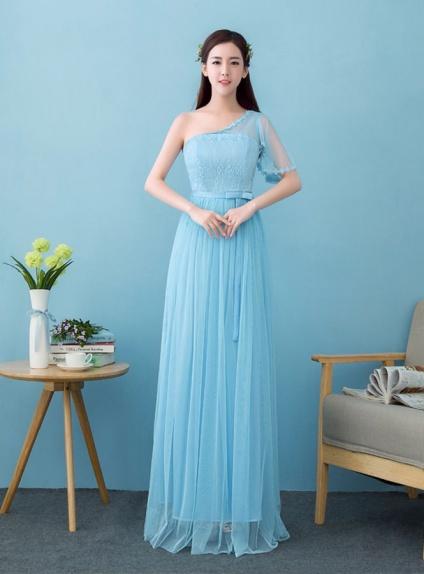 huge selection of e918e e1fc7 Vestito da Cerimonia cinese economico monospalla con una manica azzurro