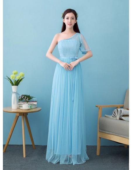 Vestito da Cerimonia cinese economico monospalla con una manica azzurro