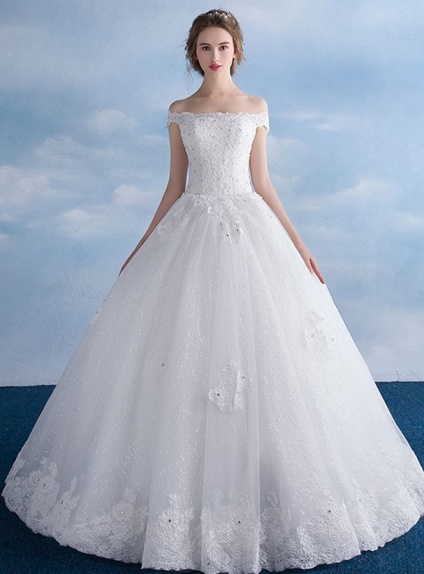 Abito da Sposa principesco con gonna brillantinata glitter e corpetto in pizzo