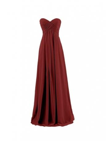Vestito per damigella rosso borgogna lungo online