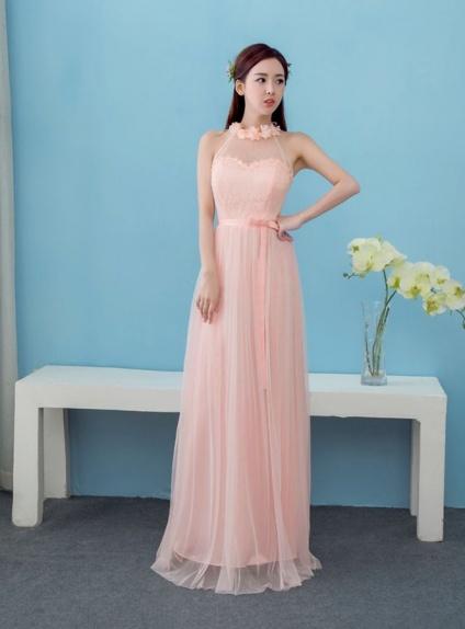 Vestito da damigella lungo economico scollo all'americana rosa