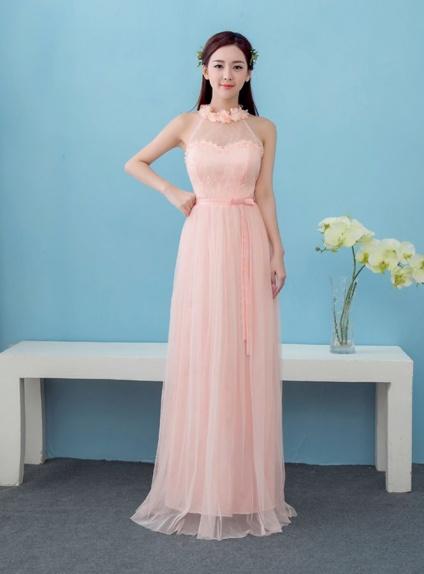 factory price bb4dc 01f73 Vestito da damigella lungo economico scollo all'americana rosa