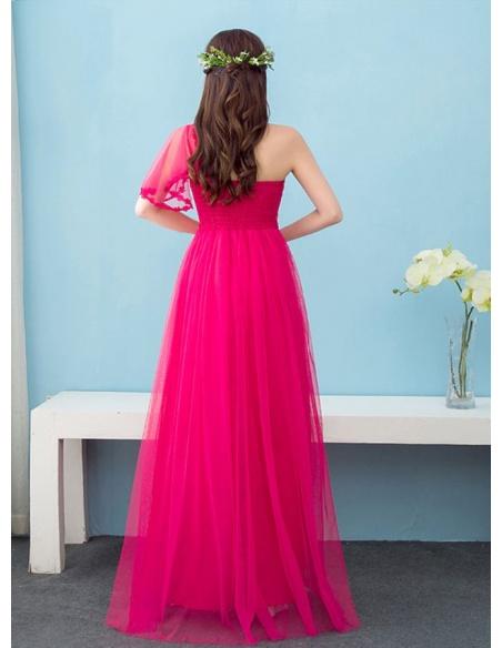 Bridesmaid A-line Floor length Chiffon One shoulder Wedding Party Dress