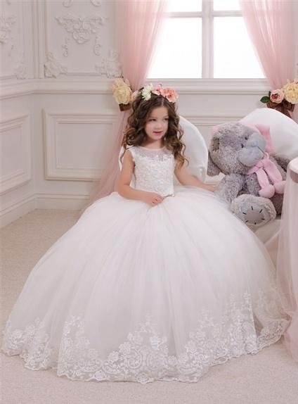 online store 969c9 e2adf Vestito prima comunione elegante con gonna vaporosa e corpetto di pizzo