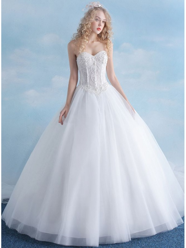 A Line Sweetheart Floor Length Tulle Lace Wedding Dress