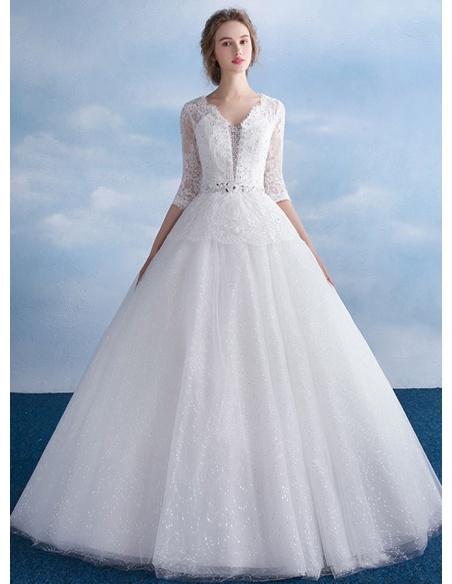 A-line V-neck Floor length Tulle Lace Wedding dress