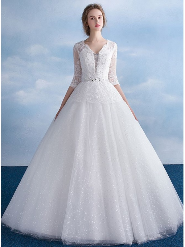 Glitter Per Abiti Da Sposa ~ Abito da sposa a line con gonna vaporosa  glitter e a5ab7d15bd1