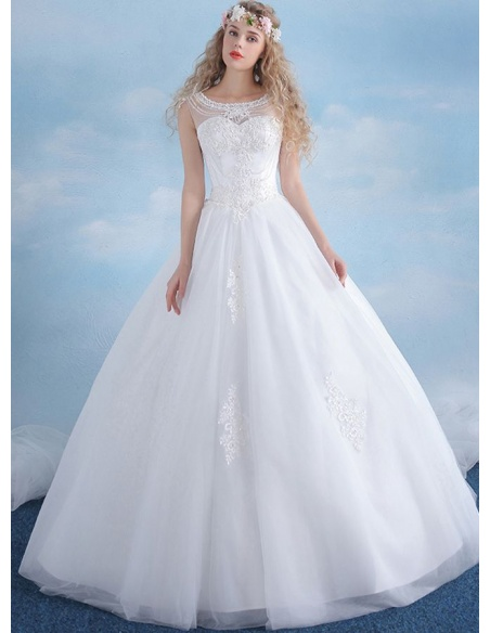 A-line Floor length Tulle Satin Low round/Scooped neck Wedding dress