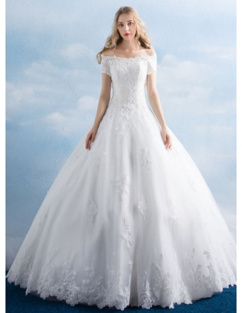 A-line Off the shoulder Floor length Tulle Wedding dress