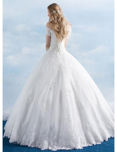 A-line Off the shoulder Floor length Tulle Wedding dress