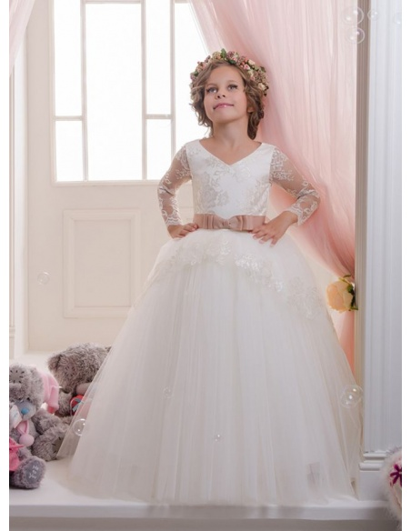 Flower girl A-line Floor length Tulle Lace V-neck Wedding party dress