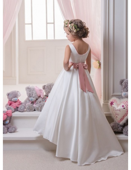 Flower girl A-line Chapel train Satin Lace Low round/Scooped neck Wedding party dress