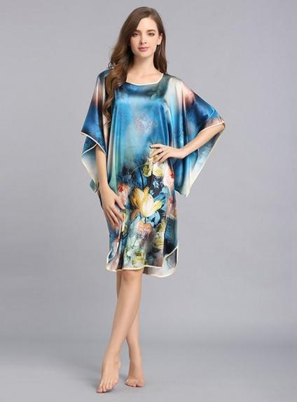 Vestaglietta in Pura Seta 100% con fantasia floreale