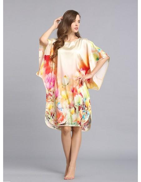 Vestaglietta di Seta colorata girocollo con maniche larghe