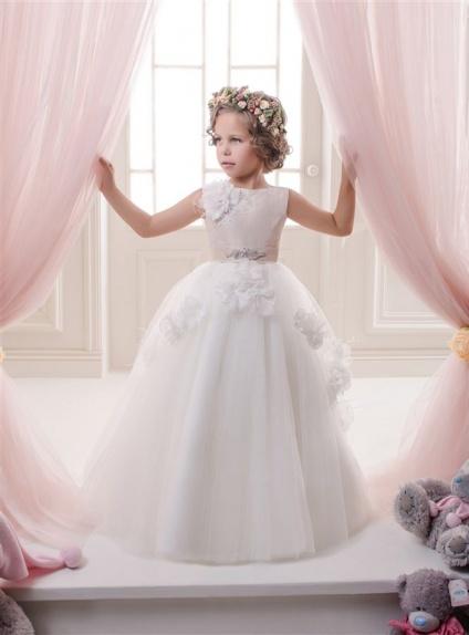 Vestito Prima Comunione lungo rosa e bianco con fiori applicati
