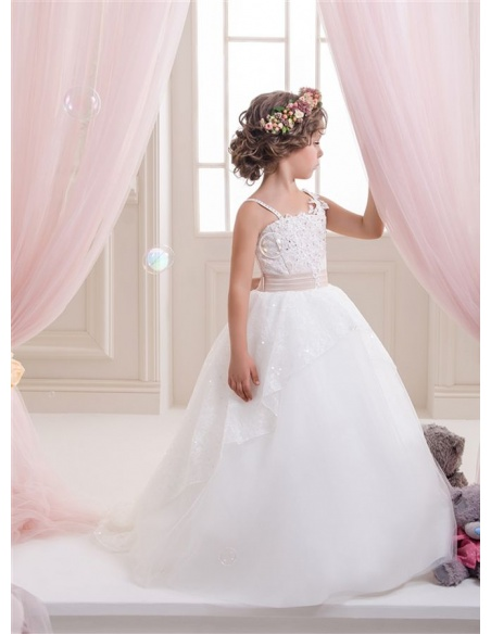 Flower girl A-line Chapel train Tulle Square neck Wedding party dress