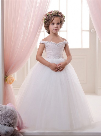 Flower girl A-line Floor length Tulle Lace Off the shoulder Wedding party dress