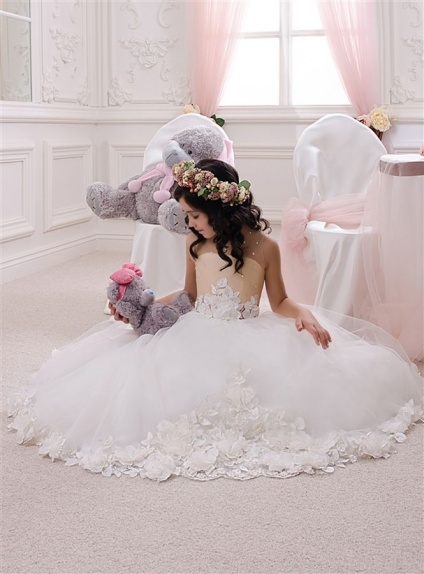 Flower girl A-line Chapel train Tulle Satin Low round/Scooped neck Wedding party dress