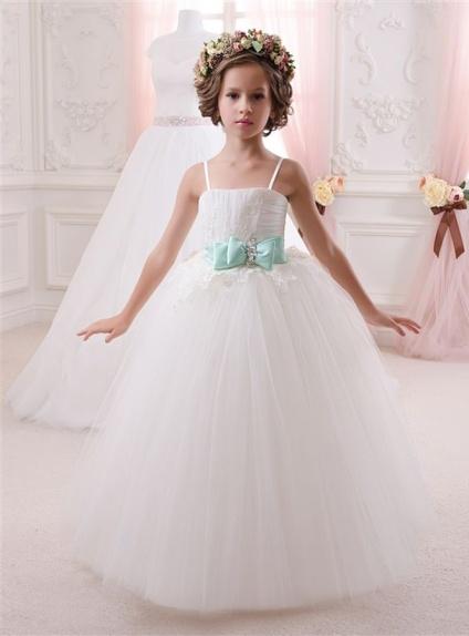 Vestiti Da Sposa Tiffany.Abito Da Comunione In Tulle Vaporoso Con Cintura Verde Tiffany