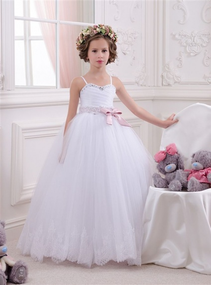 Flower girl A-line Floor length Tulle Satin Sweetheart Wedding party dress