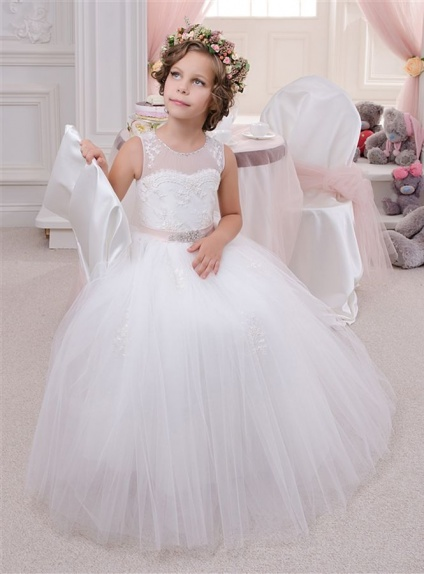Flower girl A-line Floor length Tulle Low round/Scooped neck Wedding party dress