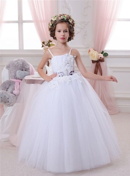 Flower girl A-line Floor length Tulle Square neck Wedding party dress