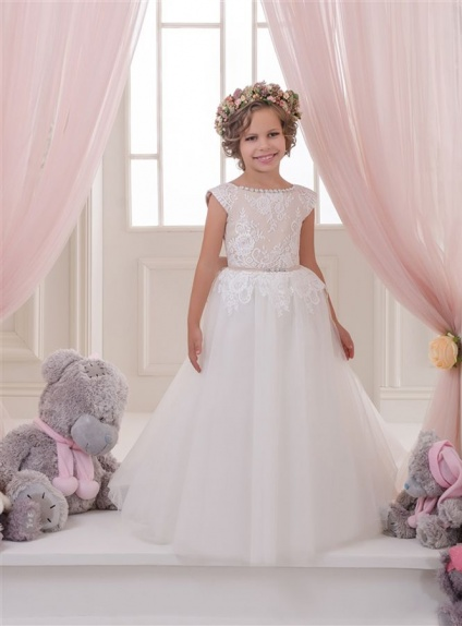 Flower girl A-line Floor length Tulle Lace Low round/Scooped neck Wedding party dress