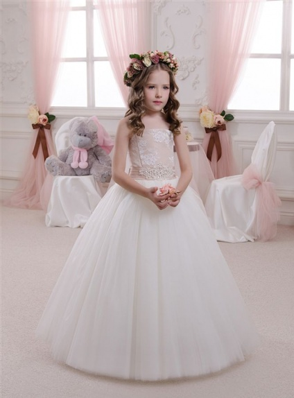 Flower girl A-line Floor length Tulle Strapless Wedding party dress