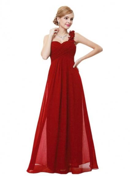 buy online 0ab9a 92c50 Vestito lungo rosso di chiffon per Damigelle