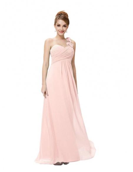 Vestito da damigella rosa chiaro monospalla