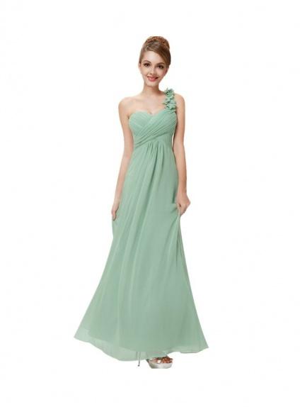 Vestito da damigella lungo a monospalla verde chiaro