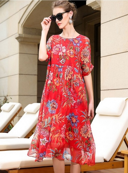 Vestito in Pura Seta a fantasia floreale rosso