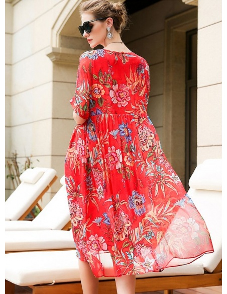 Picture color 101%mulberry silk Low round/Scooped neck Occasion dress