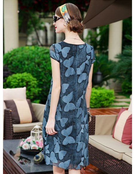 Picture color 102%mulberry silk Low round/Scooped neck Occasion dress