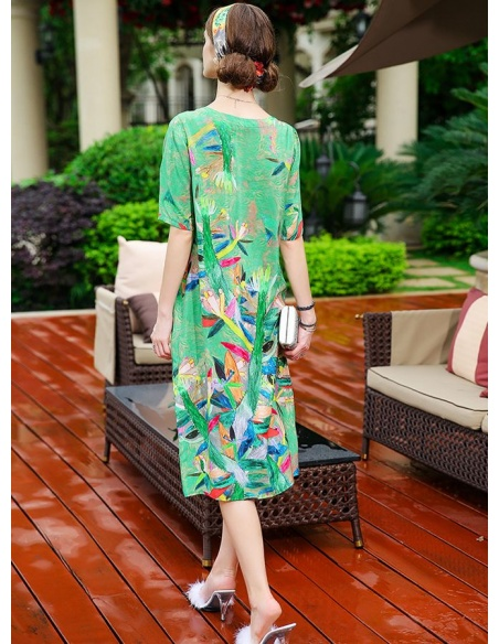 Picture color 103%mulberry silk Low round/Scooped neck Occasion dress