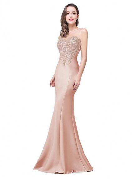 uk availability 01d11 8c9f9 Vestito lungo elegante a Sirena color carne