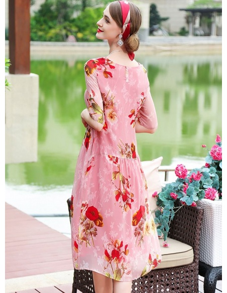Picture color 100%mulberry silk Low round/Scooped neck Occasion dress