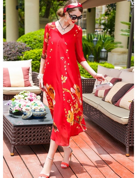 Picture color 100%mulberry silk V-neck Occasion dress