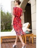 Vestitino di Seta con stampe floreali rosso a manica corta
