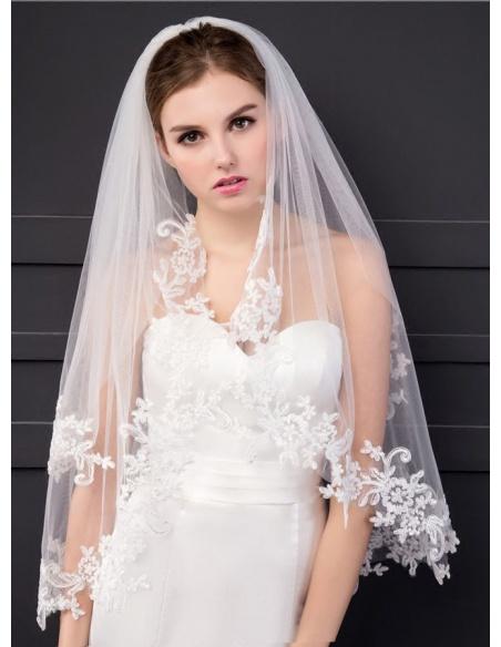 Two layers Elbow Wedding veil