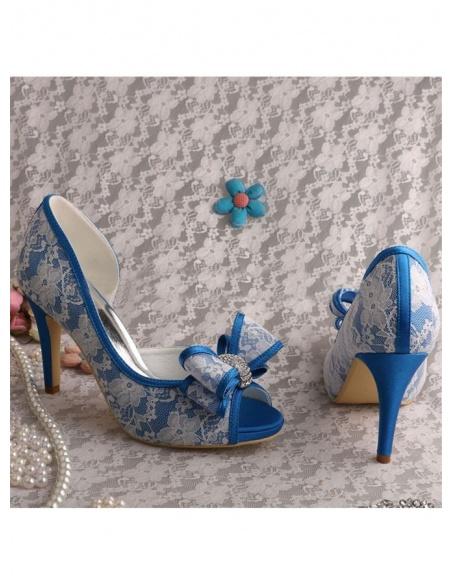 Scarpe da Sposa colorate con pizzo a contrasto