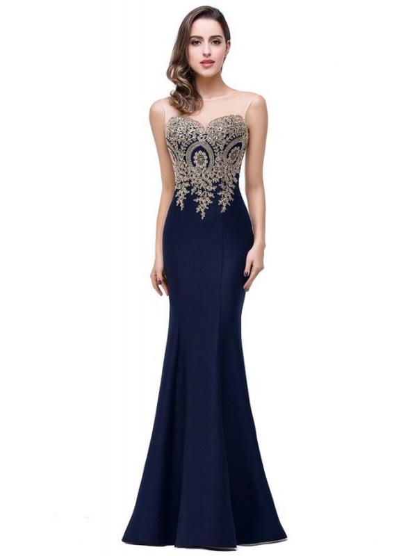Vestiti Eleganti Cerimonia.Abito Da Cerimonia A Sirena Blu Notte Elegante