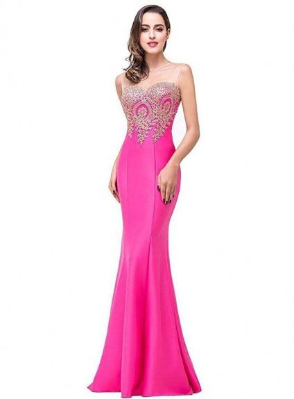buy popular 82023 c3583 Vestito per Cerimonia lungo a Sirena in raso fuxia